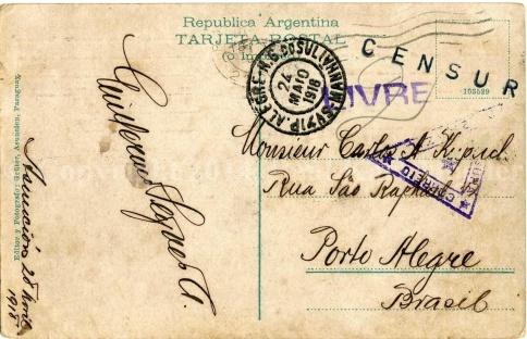 1918 Postcard (reverse) shown for its markings.