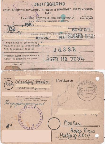 Postkarten aus ein Lager u. zu ein Kriegsgefangener, die Beide in Rußland