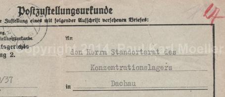 Urkunde, 1938, Dachau