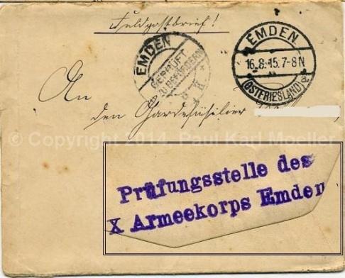 ekorps, 1915, nach Wien. Emden 1915 nach Wien