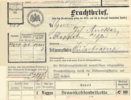 1916 Frachtbrief