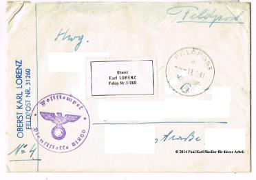 Karl Lorenz Brief Couvert (angäblich)
