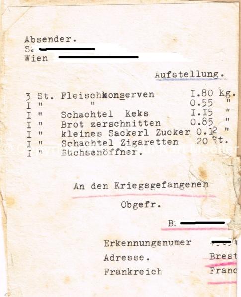 Liste - Päckchensinhalt für ein Kriegsgefangener