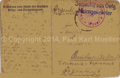 Rückseite - Postkarte - 1919 nach Buenos Aires - Brauerei Quilmes
