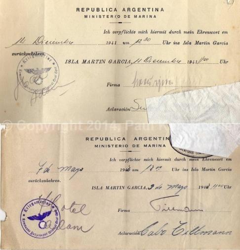 Graf Spee Kriegsgefangenen  - Erulaubnis