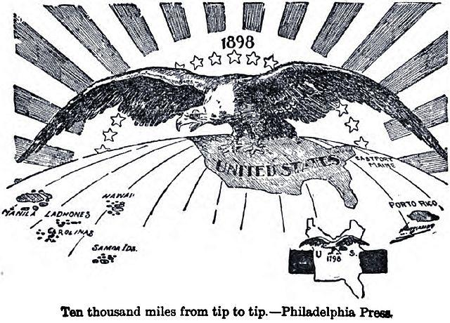"""Aguila calva, entre otros nombres, """"10 mil millas"""", por : [firma del artista no legible], supuestamente del """"Philadelphia Press"""" -  dibujo del 1898 con el título """"10,000 milla desde un punto al otro"""" (Ten Thousand Miles from Tip to Tip), originalmente publicado en el siglo 19.  Escaneo por Infrogmation vía el libro """"War in the Philippines"""" por Marshall Everet, donde se dice que fue compiad del """"Philadelphia"""" Press"""".  Provista por Infrogmation al en.Wikipedia 2002-11-08.  Licencia : en dominio público en los EE.UU.,  vía Wikimedia Commons. Vea el texto en inglés: http://commons.wikimedia.org/wiki/File:10kMiles.JPG"""