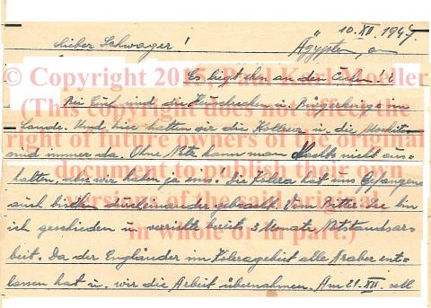 Kriegsgefangenerpost  (Prisoner of War Mail)  aus (from) Ägypten/Egypt, 1947.