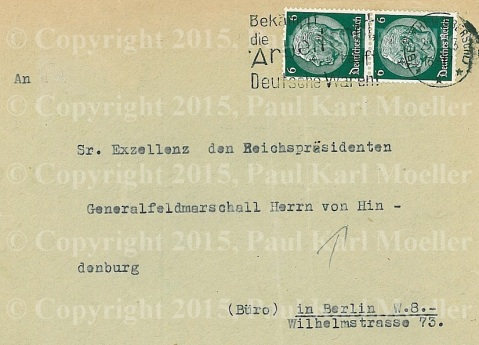 Partial view of Envelope Addressed to Hindenburg