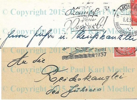 Two badly handwritten envelopes to the German Chancellor