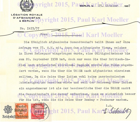 1937 letter from the Royal Afghani Legation in Berlin to a Visa Holder in Austria of Jewish Descendency